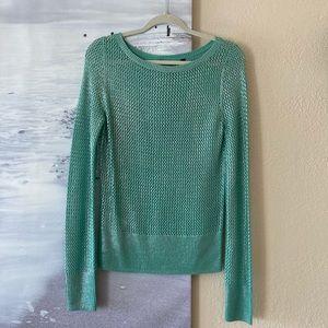 Women's BCBGMAXAZRIA Turquoise Open Knit Sweater